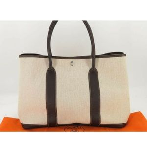 100% AUTH HERMES CANVAS LEATHER GARDEN PARTY TOTE